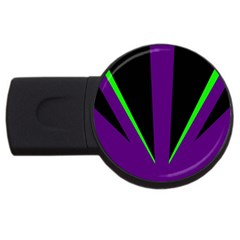 Rays Light Chevron Purple Green Black Line Usb Flash Drive Round (4 Gb) by Mariart