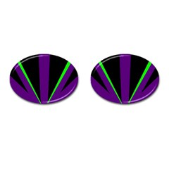 Rays Light Chevron Purple Green Black Line Cufflinks (oval) by Mariart