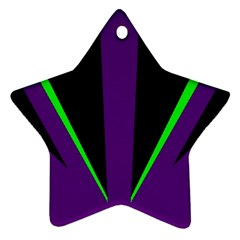 Rays Light Chevron Purple Green Black Line Star Ornament (two Sides) by Mariart