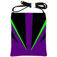 Rays Light Chevron Purple Green Black Line Shoulder Sling Bags by Mariart
