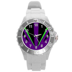 Rays Light Chevron Purple Green Black Line Round Plastic Sport Watch (l) by Mariart