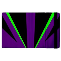 Rays Light Chevron Purple Green Black Line Apple Ipad 3/4 Flip Case by Mariart