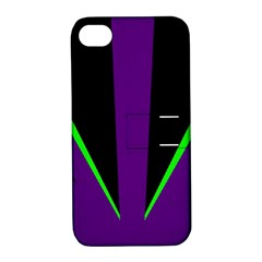 Rays Light Chevron Purple Green Black Line Apple Iphone 4/4s Hardshell Case With Stand by Mariart