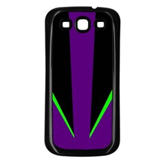 Rays Light Chevron Purple Green Black Line Samsung Galaxy S3 Back Case (black) by Mariart