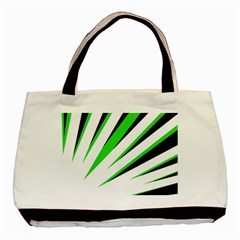 Rays Light Chevron White Green Black Basic Tote Bag by Mariart