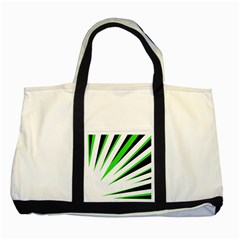 Rays Light Chevron White Green Black Two Tone Tote Bag by Mariart