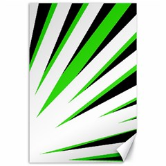 Rays Light Chevron White Green Black Canvas 24  X 36  by Mariart