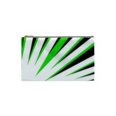 Rays Light Chevron White Green Black Cosmetic Bag (small)  by Mariart
