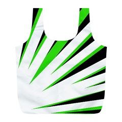 Rays Light Chevron White Green Black Full Print Recycle Bags (l)  by Mariart