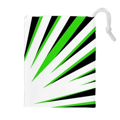 Rays Light Chevron White Green Black Drawstring Pouches (extra Large) by Mariart