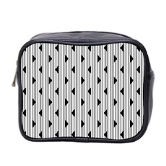 Stripes Line Triangles Vertical Black Mini Toiletries Bag 2 Side by Mariart