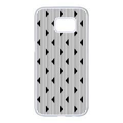Stripes Line Triangles Vertical Black Samsung Galaxy S7 Edge White Seamless Case by Mariart