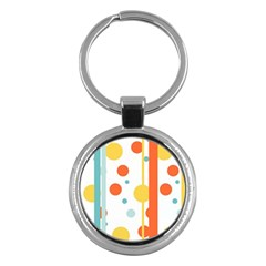 Stripes Dots Line Circle Vertical Yellow Red Blue Polka Key Chains (round)  by Mariart
