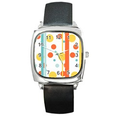 Stripes Dots Line Circle Vertical Yellow Red Blue Polka Square Metal Watch by Mariart
