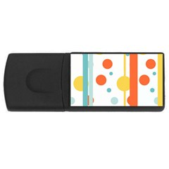 Stripes Dots Line Circle Vertical Yellow Red Blue Polka Usb Flash Drive Rectangular (4 Gb) by Mariart