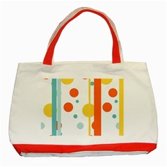 Stripes Dots Line Circle Vertical Yellow Red Blue Polka Classic Tote Bag (red) by Mariart