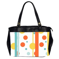 Stripes Dots Line Circle Vertical Yellow Red Blue Polka Office Handbags (2 Sides)  by Mariart