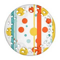Stripes Dots Line Circle Vertical Yellow Red Blue Polka Round Filigree Ornament (two Sides) by Mariart