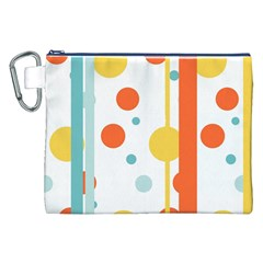 Stripes Dots Line Circle Vertical Yellow Red Blue Polka Canvas Cosmetic Bag (xxl) by Mariart