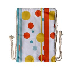 Stripes Dots Line Circle Vertical Yellow Red Blue Polka Drawstring Bag (small) by Mariart