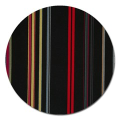 Stripes Line Black Red Magnet 5  (round) by Mariart