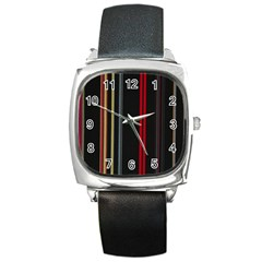 Stripes Line Black Red Square Metal Watch by Mariart