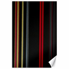 Stripes Line Black Red Canvas 24  X 36  by Mariart