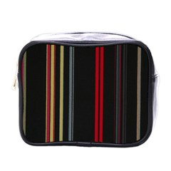 Stripes Line Black Red Mini Toiletries Bags by Mariart