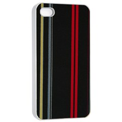Stripes Line Black Red Apple Iphone 4/4s Seamless Case (white) by Mariart