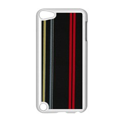 Stripes Line Black Red Apple Ipod Touch 5 Case (white) by Mariart