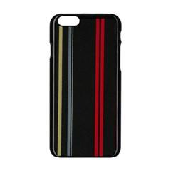 Stripes Line Black Red Apple Iphone 6/6s Black Enamel Case by Mariart