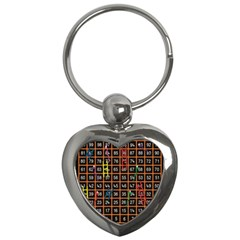 Snakes Ladders Game Plaid Number Key Chains (heart)  by Mariart