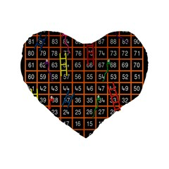 Snakes Ladders Game Plaid Number Standard 16  Premium Flano Heart Shape Cushions by Mariart