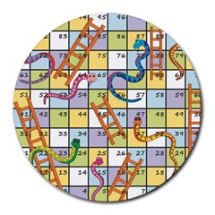 Snakes Ladders Game Board Round Mousepads by Mariart