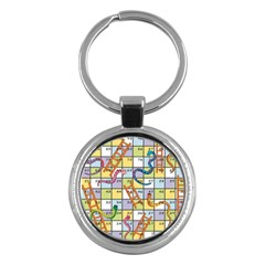 Snakes Ladders Game Board Key Chains (round)  by Mariart