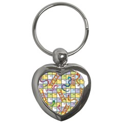 Snakes Ladders Game Board Key Chains (heart)  by Mariart