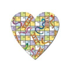 Snakes Ladders Game Board Heart Magnet by Mariart
