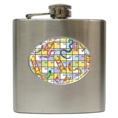 Snakes Ladders Game Board Hip Flask (6 Oz) by Mariart