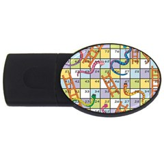 Snakes Ladders Game Board Usb Flash Drive Oval (4 Gb) by Mariart