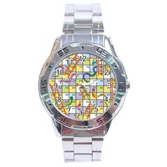 Snakes Ladders Game Board Stainless Steel Analogue Watch by Mariart