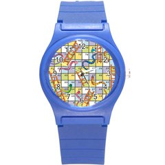 Snakes Ladders Game Board Round Plastic Sport Watch (s) by Mariart