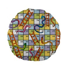 Snakes Ladders Game Board Standard 15  Premium Flano Round Cushions by Mariart