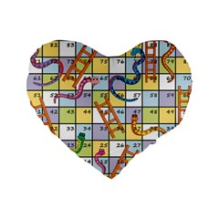 Snakes Ladders Game Board Standard 16  Premium Flano Heart Shape Cushions by Mariart