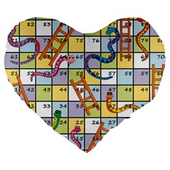Snakes Ladders Game Board Large 19  Premium Flano Heart Shape Cushions by Mariart