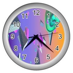 Triangle Wave Rainbow Wall Clocks (silver)  by Mariart