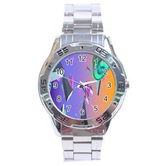 Triangle Wave Rainbow Stainless Steel Analogue Watch by Mariart