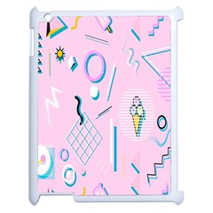 Vintage Unique Graphics Memphis Style Geometric Apple Ipad 2 Case (white) by Mariart