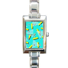Vintage Unique Graphics Memphis Style Geometric Triangle Line Cube Yellow Green Blue Rectangle Italian Charm Watch by Mariart