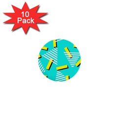 Vintage Unique Graphics Memphis Style Geometric Triangle Line Cube Yellow Green Blue 1  Mini Buttons (10 Pack)  by Mariart