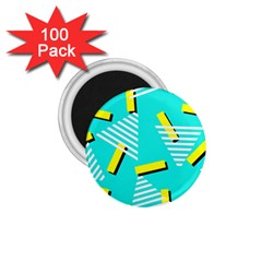 Vintage Unique Graphics Memphis Style Geometric Triangle Line Cube Yellow Green Blue 1 75  Magnets (100 Pack)  by Mariart
